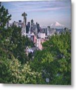 Seattle And Mt. Rainier Vertical Metal Print