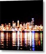 Seattle At Night - From Alki Beach Metal Print