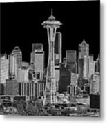 Seattle Black And White Metal Print
