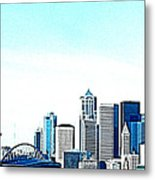 Seattle Blue Metal Print