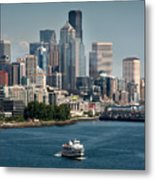 Seattle By Ferry Metal Print