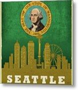 Seattle City Skyline State Flag Of Washington Art Poster Series 017 Metal Print