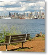 Seattle City Skyline View From Alki Beach Metal Print