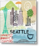Seattle Cityscape- Art By Linda Woods Metal Print