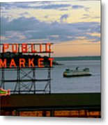 Seattle Ferry At Dusk Metal Print