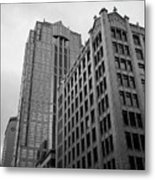 Seattle - Misty Architecture 3 Bw Metal Print