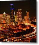 Seattle Night Traffic Metal Print