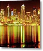 Seattle Panorama Reflection In Elliot Bay Metal Print by Tim Rayburn