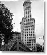 Seattle - Pioneer Square Tower Bw Metal Print