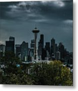 Seattle Skyline - Dramatic Metal Print