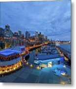 Seattle Skyline From The Waterfront At Blue Hour Metal Print