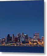 Seattle Skyline In Twilight With Clear Sky Metal Print