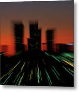 Seattle Skyline Motion Metal Print