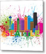 Seattle Skyline Paint Splatter Text Illustration Metal Print