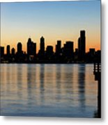 Seattle Skyline Silhouette At Sunrise From The Pier Metal Print