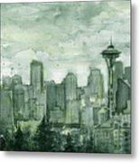 Seattle Skyline Watercolor Space Needle Metal Print