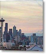 Seattle Skyline With Mount Rainier During Sunrise Panorama Metal Print