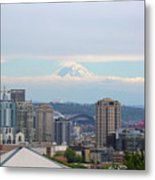 Seattle Skyline With Mt Rainier In Clouds Metal Print
