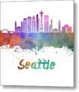 Seattle V2 Skyline In Watercolor Metal Print