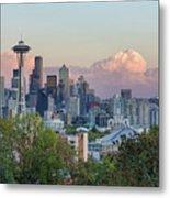 Seattle Washington City Skyline At Sunset Metal Print