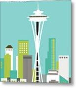 Seattle Washington Vertical Skyline - Teal Metal Print