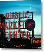 Seattle's Public Market Center At Sunset Metal Print