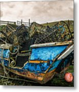 An Old Boat Turned In A Fyke Storage Place. Second Life.i Found This Near The Sea In Uig, Scotland. Metal Print