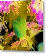 Second Take Abstract Green Blue Flowers Metal Print