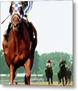 Secretariat Winning The Belmont Stakes, Jockey Ron Turcotte Looking Back, 1973 Metal Print