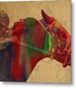 Secretariat Horse Race Watercolor Portrait Metal Print