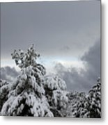 Sedona Skyline In Winter Metal Print