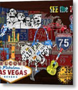 See The Usa Vintage Travel Map Recycled License Plate Art Of American Landmarks Metal Print