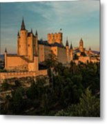 Segovia Alcazar And Cathedral Golden Hour Metal Print