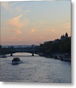 Seine At Sunset Metal Print