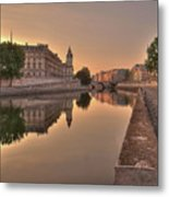 Seine River In Morning, Paris Metal Print