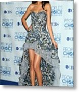 Selena Gomez Wearing An Irina Shabayeva Metal Print by Everett