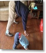 Self Portrait 8 - Downward Dog With Grandson Max On His 2nd Birthday Metal Print