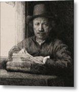 Self-portrait Drawing At A Window Metal Print
