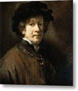 Self Portrait With Cap And Gold Chain Rembrandt Harmenszoon Van Rijn Metal Print