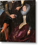 Self Portrait With Isabella Brandt, His First Wife, In The Honey Metal Print