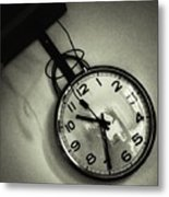 Selfportrait On A Clock Metal Print