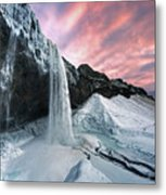 Seljalandsfoss Sunset Metal Print