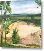 Send Dunes With A Farm House Metal Print