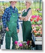 Senior Gardener And Middle-aged Gardener At Work. Metal Print