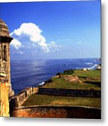 Sentry Box And Sea Castillo De San Cristobal Metal Print