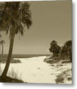 Sepia Beach Metal Print