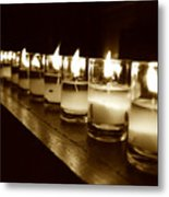 Sepia Candles Metal Print