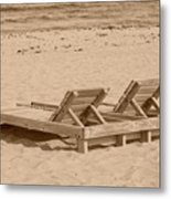 Sepia Chairs Metal Print