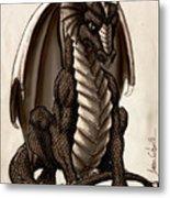 Sepia Dragon Metal Print