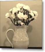 Sepia Gold Pitcher Of Carnations Metal Print